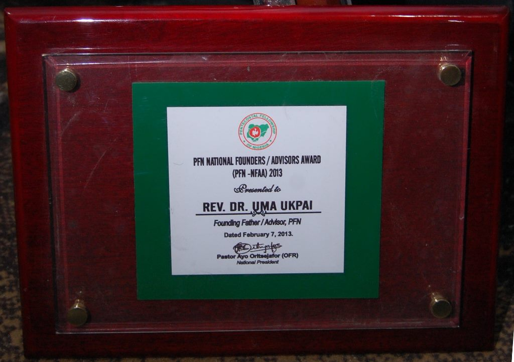 PFN National Founders/Advisors Award(PFN-NFAA) 2013 to Rev. Dr. Uma Ukpai on February 7, 2013